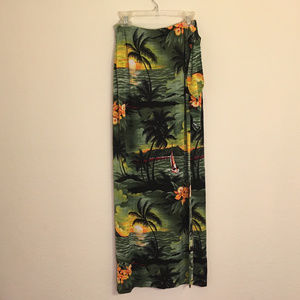 Hawaiian print wrap maxi skirt